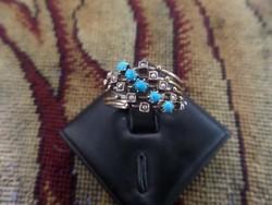 """Arany """"cukor"""" gyűrű türkizekkel és apró gyöngyökkel"""