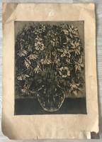 Virágcsendélet rézkarc, grafika, akvatinta