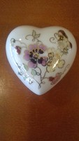 Zsolnay pillangó/ lepke mintás bonbonier  -  kisebb  szív alakú