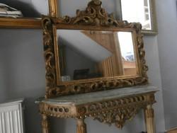 Barokk fésülködő, konzol asztal , tükörrel