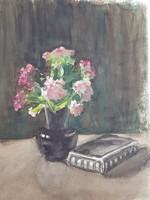 Balázs Gedeon: Virágcsendélet, akva