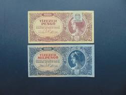 10000 pengő 1945 + 10000 milpengő 1946 LOT !
