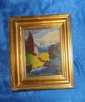 """Goblein gobelin ˙""""Völgy"""" kép üvegezett képkeretben 38*45,5 cm"""