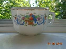 Antik jelzett,kézzel számozott teás csésze virág és gyümölcs kosár mintával