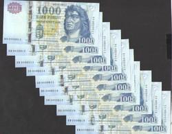 """1000 forint 2011. """"D"""". 10 db s.k.! Extra alacsony sorszámúak: 11,12,13,14,15,16,17,18,19,20! UNC!"""