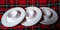 Old white porcelain egg holders for breakfast 3 pcs