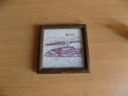 Horvátország Rovinj emlék falikép üvegezett fa képkeretben 12*12 cm (2/p)
