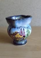 Svájc Swissminiatur emlék pici porcelán kancsó kézzel festett  5,5 cm (2/p)