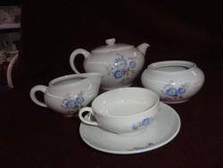 Kispest gránit magyar porcelán 13 darabos teáskészlet. Kék virágmintával.