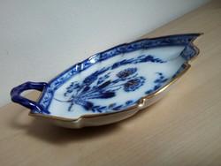 Fischer&Mieg aranyozott/kobalt porcelán füles kínáló, 19. század