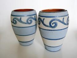 2 db kézzel festett, belül mázazott kerámia váza 18 cm