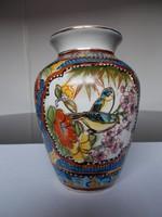 Régi kézi festésű gyönyörű madaras kínai porcelán váza
