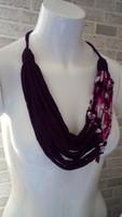 Lila-mintás újrahasznosított textil nyaklánc
