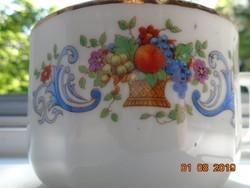 Antik számozott,jelzett teás csésze virág és gyümölcs kosár mintával