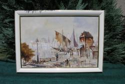 """Vojnits Richárd ( 1942 - ) """"Mediterrán kikötő"""""""