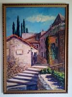Baráth Pál: Utcarészlet, olaj/vászon festmény, XX. század közepe
