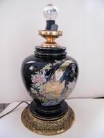 Nagy méretű, kézzel festett madaras porcelán lámpaváza, lámpatest
