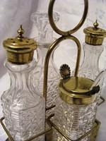 Kristály fűszer szett, ezüstözött, alpakka fűszertartó állványon, só, bors, fűszerkém és olaj kínáló