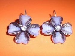 Muránói Opál Szív - Virág kristály kézműves fülbevaló