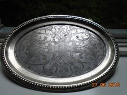 Angol antik gazdag viktoriánus cizellált niellós mintákkal ezüstözött fém tálca.-jelzett