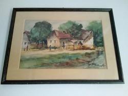 Ádámffy László (1902-?) akvarell festménye 2.