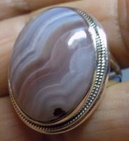 925 ezüst gyűrű  18,9/59,3 mm csíkos acháttal