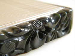 Art deco Framus kétoldalú púderes doboz zöld bakelit dísszel