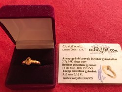 Arany gyűrű konyak és fehér gyémánttal