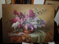 Slosár: Orgona csendélet, 70x100, sértetlen, monumentális, szignós, vászon, olaj