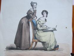 Életkép, divatrajz az 1800-as évek első feléből. Színezett litográfia