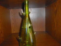 Különleges  üveg palack- szép kézműves munka, masszív, vastag darab.