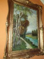 Csodálatos szignózott festmény -Pecás a folyónál-