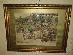 Felekiné Gáspár Anni -Család- Az eredeti festmény Aukciósházban milliós tétel.