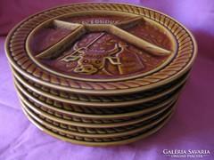 6 db-os Sarreguemines majolika retro tányér készlet