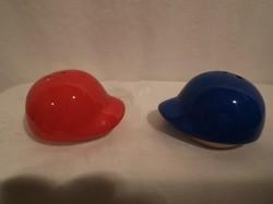 Porcelán - sószóróK 2 db - baseball sapka  alakú  - 6 x 5 x 4 cm - hibátlan