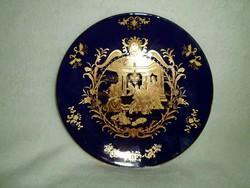 Gyönyörű jelzett jelenetes kobaltkék kínai porcelán, pazar aranyozott
