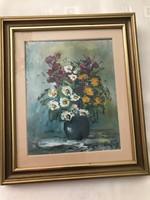 Csendélet olaj festmény Hajós szignóval 35×30 cm.