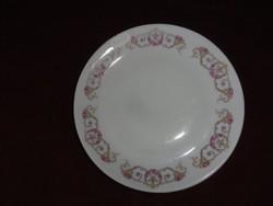 MZ Csehszlovák porcelán süteményes tányér. Hófehér alapon arany/rózsaszín mintával.  Antik.
