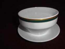 MZ Csehszlovák porcelán szószos tálka alátéttel együtt. Hófehér alapon zöld/arany szegéllyel.