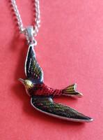 Ezüst nyaklánc madaras függővel