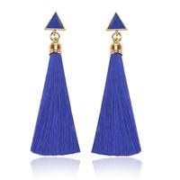 Kék !Aranyozott Acrylic Selyem Szállal Díszített Bohókás Fülbevaló Pár