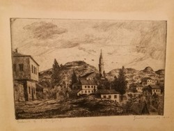 Eladó Gross Arnold 2 korai, ff, ritka, Bulgáriai ihletésű rézkarca: Trnovo, Balcsiki táj