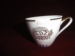 MZ Csehszlovák porcelán kávéscsésze, MDZ felirattal, arany díszítéssel.