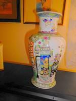 Kínai kézzel festett jelzett  porcelán váza 28 cm