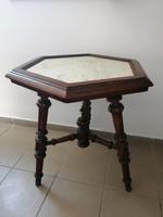Ónémet antik márványlapos posztamens asztalka virágtartó