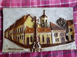 Szentendre, fali kerámia, méret jelezve, szignós