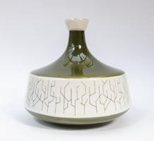 Hollóházi retro porcelán váza - mohazöld színű, absztrakt fa mintával az oldalán. Borsodi erdészet