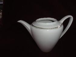 MZ Csehszlovák porcelán teakiöntő.Hófehér alapon arany csíkkal. Tető nélkül.