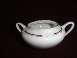 MZ Csehszlovák porcelán cukortartó.Hófehér alapon arany csíkkal. Tető nélkül.