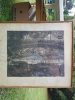 Imre István rézkarc, nagy, Margit-híd, Majális